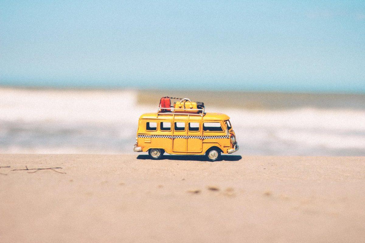 beach blue car combi